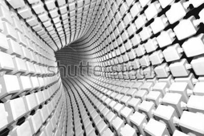 Fototapeta Geometrické pozadí abstraktní s tunelem do perspektivy. 3D vykreslování