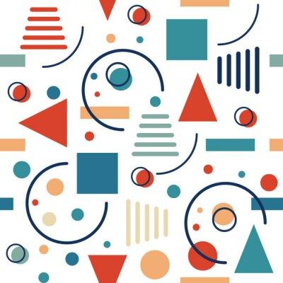 Fototapeta Geometrický bezešvý vzor. Kruhy, trojúhelníky a čáry. Vektorové retro design.