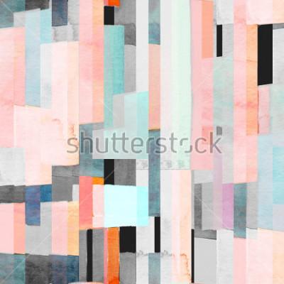 Fototapeta Geometrický bezešvý vzor s různobarevnými pruhy a čaje. Módní abstraktní pozadí.