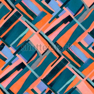 Fototapeta Geometrický bezešvý vzor s vícebarevnými pruhy a kosočtverecmi. Moderní moderní abstraktní pozadí.