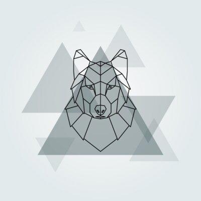 Fototapeta Geometrický vektor zvíře šedá vlčí hlava pozadí.