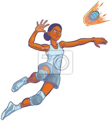 Girl Stouply Flaming Volejbal Vektorove Ilustrace Kreslene