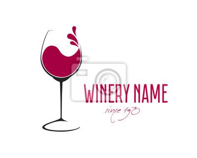 Fototapeta Glass of Wine with splash logo design