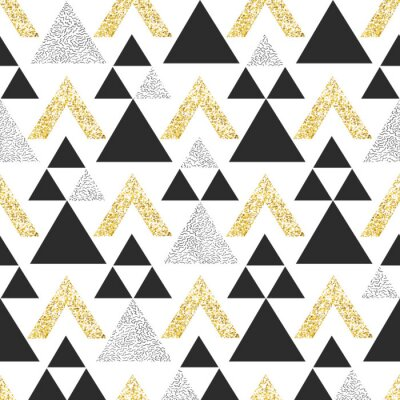 Fototapeta Gold geometrické trojúhelník pozadí. Abstraktní bezešvé vzor s trojúhelníky ve zlatě a tmavě šedé.