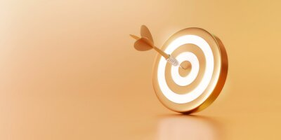 Fototapeta Golden arrow aim to dartboard target or goal of success on business background with complete achievement concept. 3D rendering.