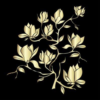 Fototapeta Golden Kvetoucí větev Magnolia na černém pozadí vektorové ilustrace
