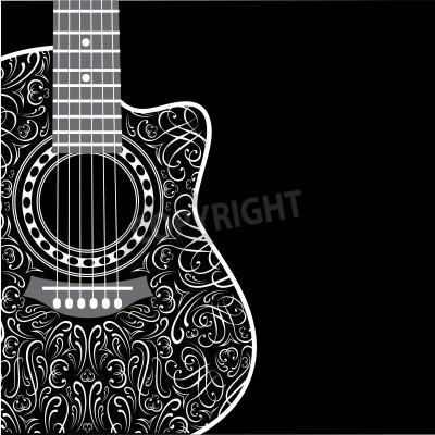 Fototapeta gradient pozadí s kytarou oříznuté a stylový ornament