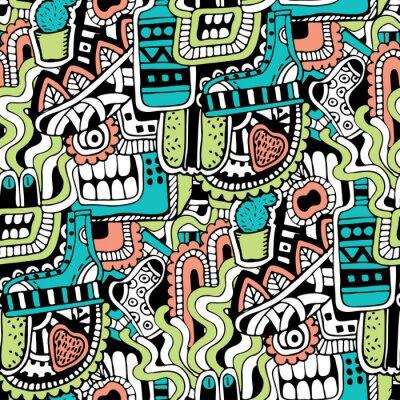 Fototapeta Graffiti bezešvé textury se sociálními značek médií a dalších ikon na lesklé. Vektorové ilustrace s botou, TV, láhve, potraviny, příšery hlavu, listí