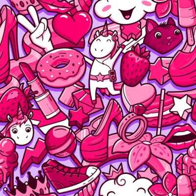 Fototapeta Graffiti bezešvé vzor s dívčími dudlíky stylu. Vektorové pozadí s dětinskou dívkou moc bláznivé prvky. Moderní koláž s lineárními styly s bizarními ikonami pouličního umění.