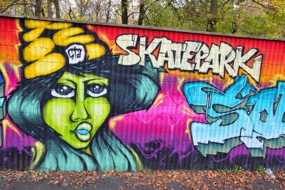 Fototapeta Graffiti cihlová zeď umění v německu