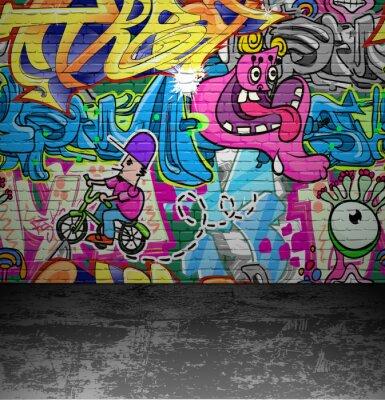 Fototapeta Graffiti stěna městské street art malování