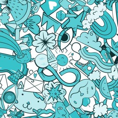 Fototapeta Grafitový vzor s ikonami městského životního stylu. Crazy doodle abstraktní vektor pozadí. Moderní koláž v lineárním stylu s bizarními prvky pouličního umění.