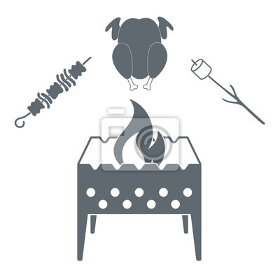 barbecue zephyr chicken and kebab icon on a white background fototapeta fototapety v nek ko. Black Bedroom Furniture Sets. Home Design Ideas