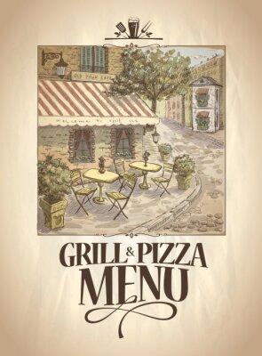 Fototapeta Grill a menu Pizza s grafickým ilustrace pouliční kavárny.