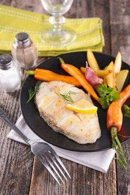 Fototapeta grilované ryby a zelenina