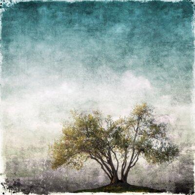 Fototapeta Grunge krajina s jedním stromem