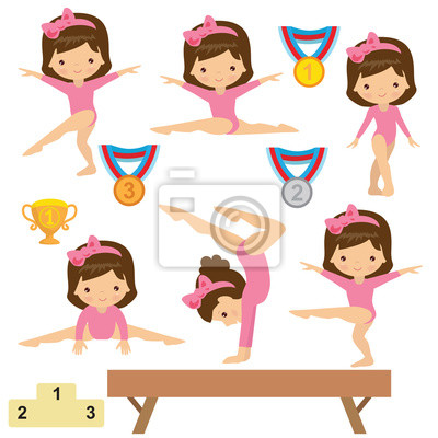 Gymnastika Divka Vektorove Kreslene Ilustrace Fototapeta