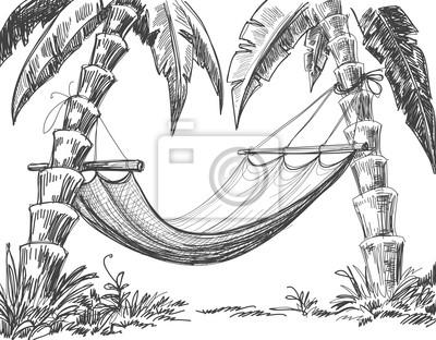 Hammock A Palmy Kresleni Fototapeta Fototapety Povrchni Hamak
