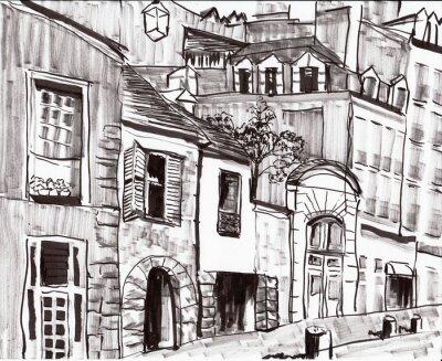 Fototapeta hand draw paris budova