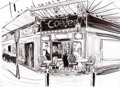 Fototapeta hand draw paris kavárna