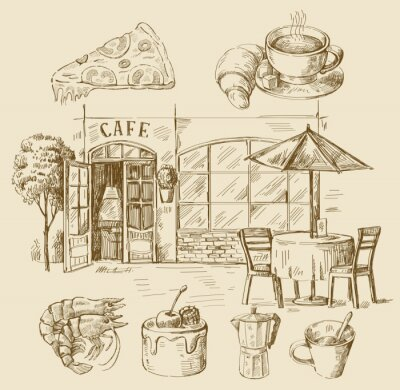 Fototapeta hand drawn cafe