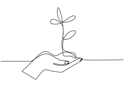 Fototapeta Hand holding plant's pot. Continuous one line drawing of back to nature theme. Growing plant in hand palm. Concept of growing and love earth hand drawn vector design illustration.