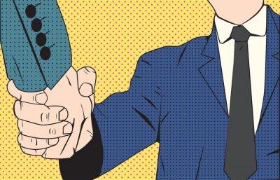 Fototapeta Handshake podnikatel retro stylu pop art