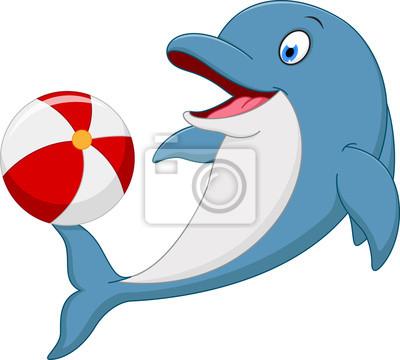 Fototapeta Happy Dolphin kreslený hrající míč
