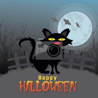 Happy Halloween Karta S Kockou A Mesic Vektor Fototapeta