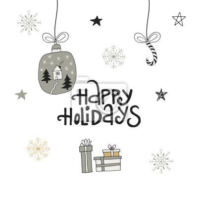 Happy Holidays Rucne Kreslene Vanocni Napisy S Vanocni Dekoraci