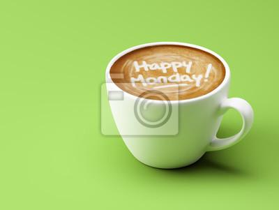 Happy Mondays Coffee Cup Concept izolovaných na zeleném pozadí