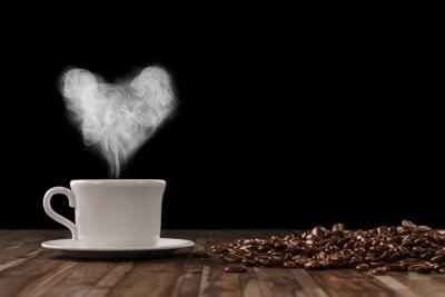 Fototapeta Heart of pára nad kávou