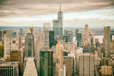 Fototapeta Helicopter view of Downtown Manhattan skyscrapers, New York City.
