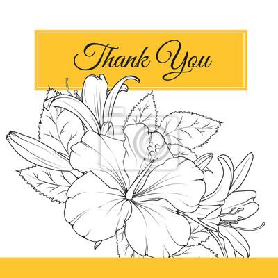 Hibiscus Lily Jarni Kvetiny Kytice Garland Listovi Slozeni Dekujeme