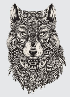 Fototapeta Highly detailed abstract wolf illustration