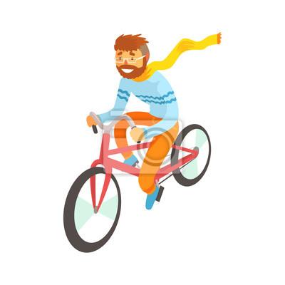Fototapeta Hipster muž se těší jízdě na kole b96f309a7e