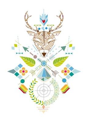 Fototapeta Hirschjagd - Grafisches Muster mit Hirschkopf, Zielscheibe, Pfeile, Blätter und Blüten