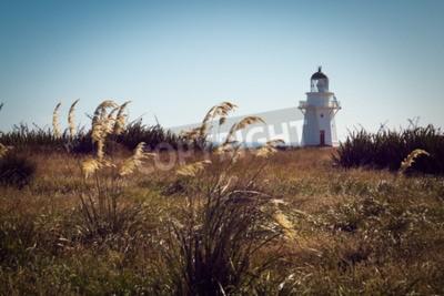 Fototapeta Historic Lighthouse at Waipapa Point, Catlins, New  Zealand. Vintage Filter