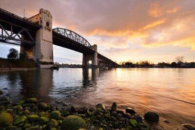 Fototapeta Historické Vancouver Burrard most v zimním západu slunce