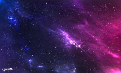 Fototapeta Hlubokého vesmíru. Vektorové ilustrace kosmické mlhoviny s hvězdokupy.
