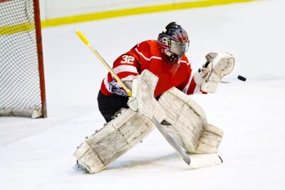 Fototapeta Hokejový brankář v generických červeném prostředky chrání vrata