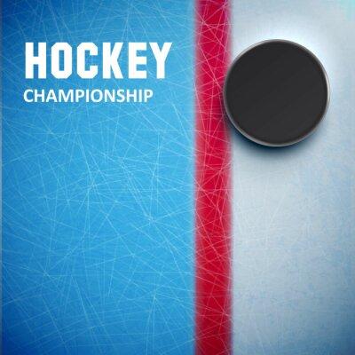 Fototapeta Hokejový puk izolovaných na ledové pohled shora