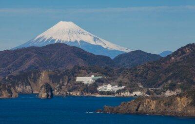 Fototapeta Hora Fuji a moře z centra Izu Shizuoka prefektura, Japonsko.