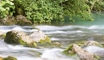 Fototapeta Horská řeka v Abcházii, terén. Vyčistěte říční toky v horách Abcházie.