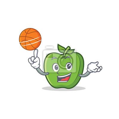 Hra Basketbalove Zelene Jablko Kreslene Postavicky Fototapeta