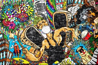 Fototapeta Hudební koláž na velké cihlové zdi, graffiti