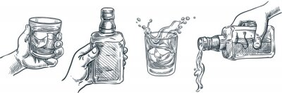 Fototapeta Human hand holding whiskey glass. Scotch whisky or brandy pouring out of bottle. Vector hand drawn sketch illustration.