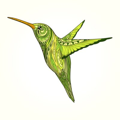 Fototapeta Hummingbird s abstraktní ornament vektoru