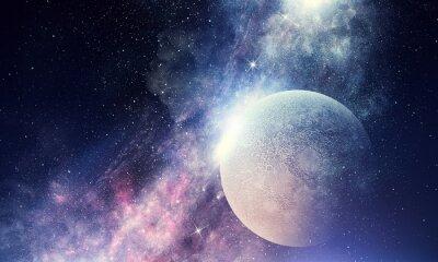 Fototapeta Hvězdné nebe a měsíc. Smíšená média