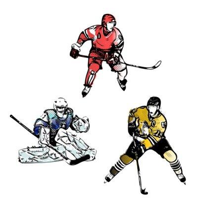 Fototapeta ice hockey players vector illustrations